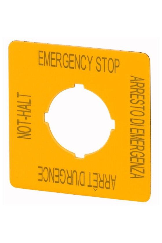 121373 M22-XYK11 Etiqueta, parada de emergencia