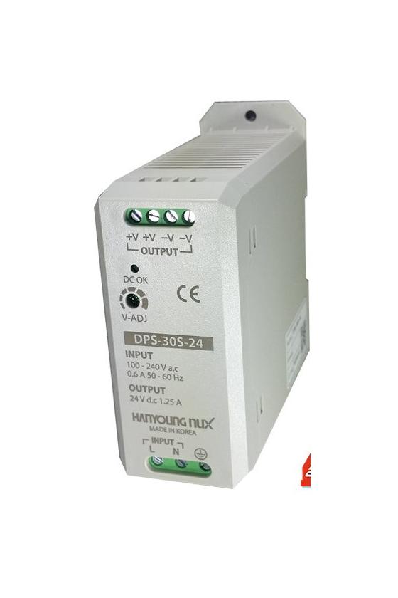 DPS30S24 Fuente de poder 100-240vca salida 24vcd 1.25A para riel Din.