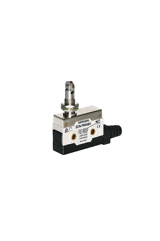 ZCN-PR508H Micro switch sellado con pivoté y rodillo horizontal 1NA+1NC 10amp 250vca