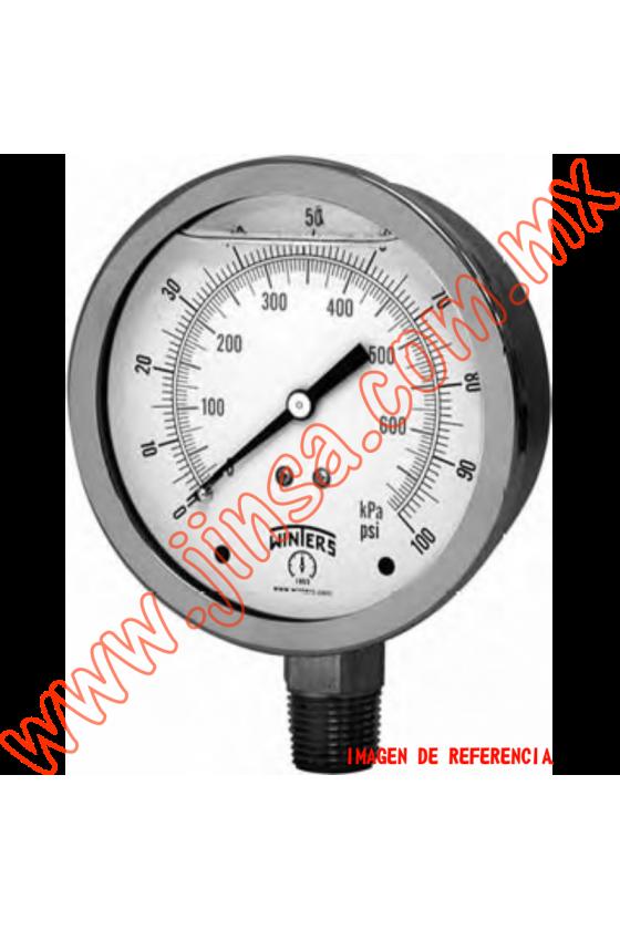 "PFQ1104 MANÓMETRO DE GLICERINA CON CARATULA 1.5"" CONEXION INFERIOR DE 1/8 RANGO DE 0 A 100 PSI"