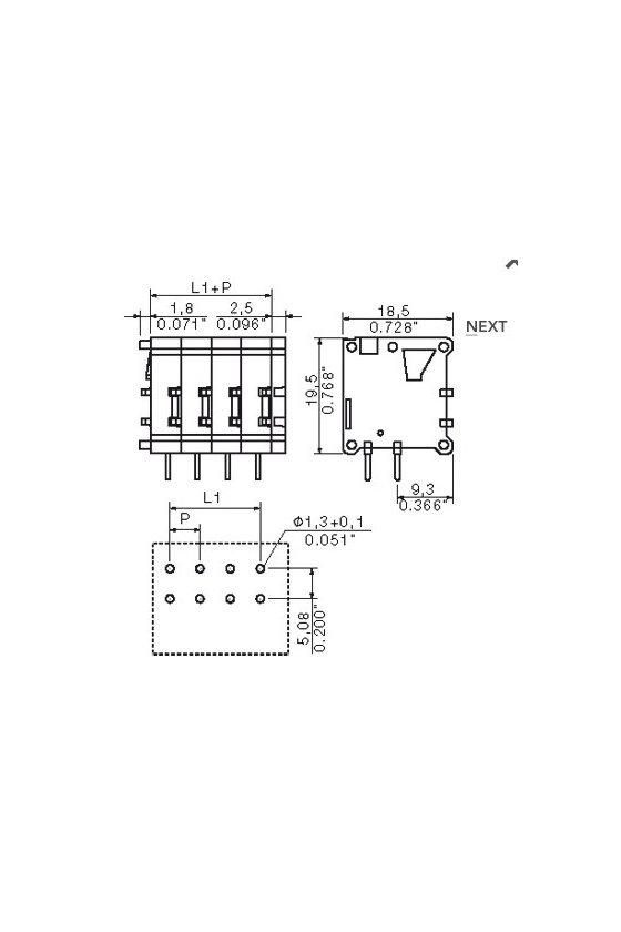 0597660000 Bornes para circuito impreso 5.08 mm Número de polos: 8, 180° TOP1.5GS8/180 5 2STI OR