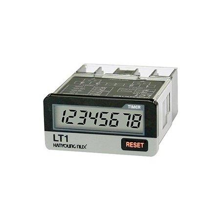 LT1F Horómetro con voltaje 24-240vca  /  6-24vcd  8 dígitos LCD  48x24mm con reset frontal o remoto programable