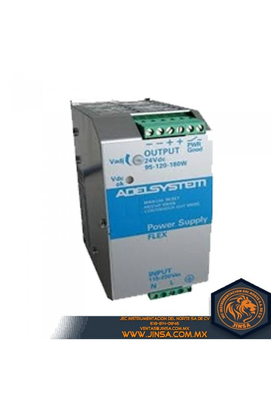 FLEX17024B Fuente de poder 7.5Amps/Input 230-500VAC/Output 24VDC/2 fases