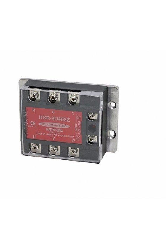 HSR3D502Z Relevador  Electrónico Trifásico 109x75x36mm  entrada 4-32vcd  carga 50amp de 90-264vca