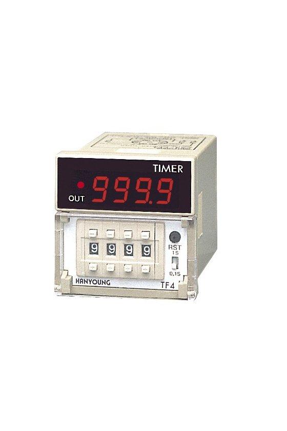 TF4BUDR Timer 48x48mm 9 minutos 59.9sec-59 minutos -59sec up display 24v  salida a Relay