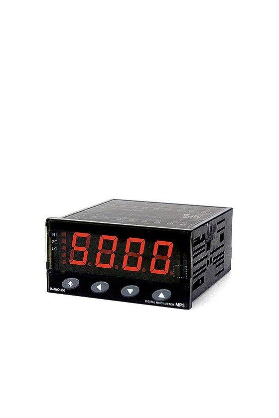MP34DV0A Voltimetro con 3 salidas (HI,GO,LO) 4/20ma DC 4 digitos 94x48 mm rango 50mv,5v,10v,50v,500vcd alim. 100-240 vca