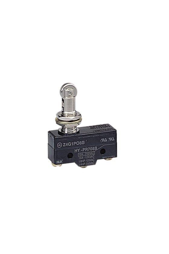 HYPR708B Micro Switch básico con pivoté y rodillo paralelo 1NA+1NC 10amp 250vca