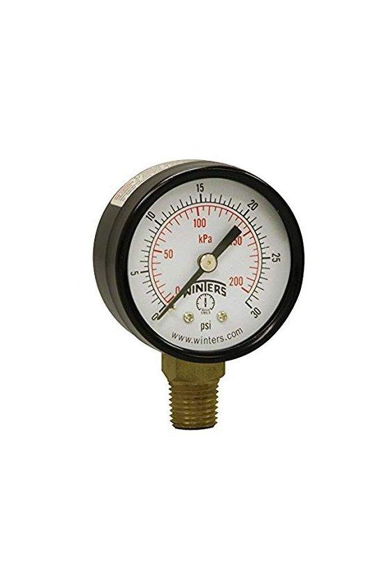 """PEM136 Manómetro económico caratula de 2"""" conexión inferior de 1/4"""" NTP rango de 0/15 psi/kPa de acero"""