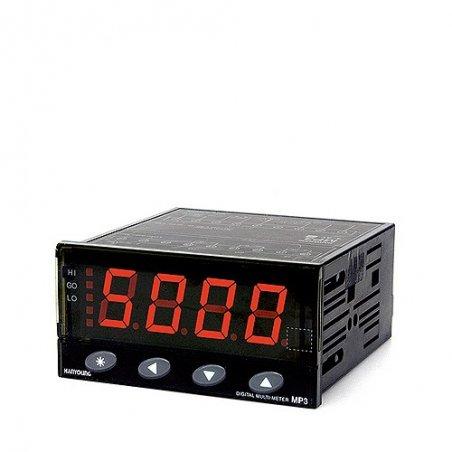 MP34AANA Amperímetro Indicador AC 4 dígitos 96x48mm rango 50mA, 500mA, 5amp alim. de 100-240vca