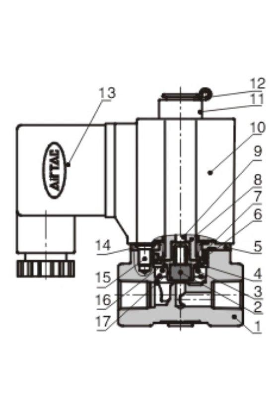 2KL250-25ET Válvula solenoide 2 vías 2 posiciones puertos de 1/4'' INOX. VAPOR,  N.A