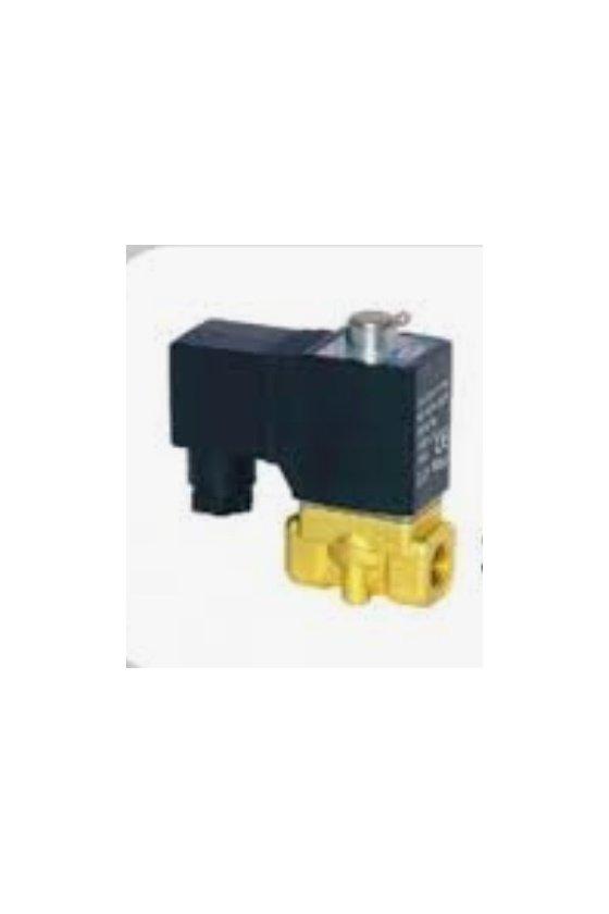 """2KW030-08AT Válvula solenoide 2 vías 2 posiciones puertos de 1/4"""" cuerpo de latón 24V,N.A 220vca"""