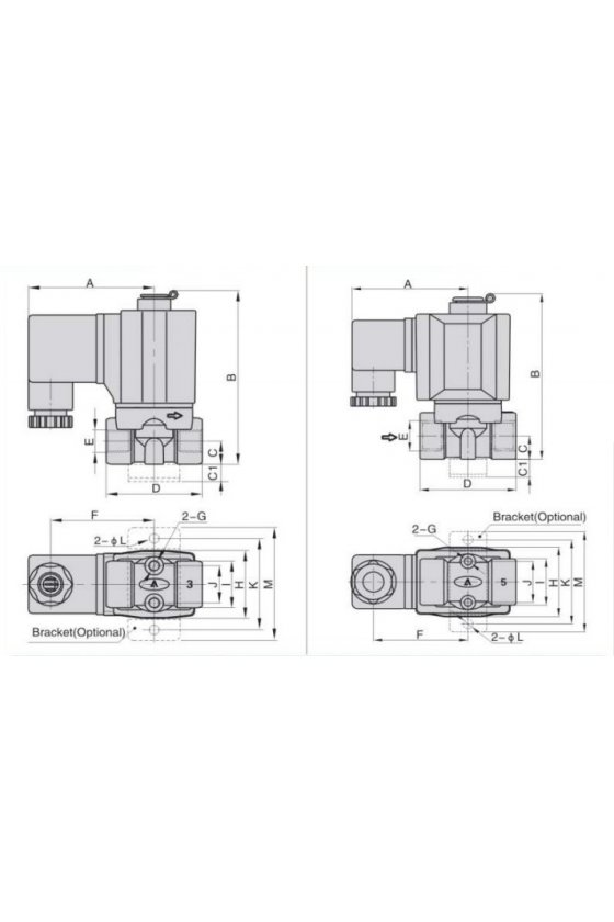 """2KW030-08BT Válvula solenoide 2 vías 2 posiciones puertos de 1/4"""" cuerpo de latón 24V,N.A 110vca"""