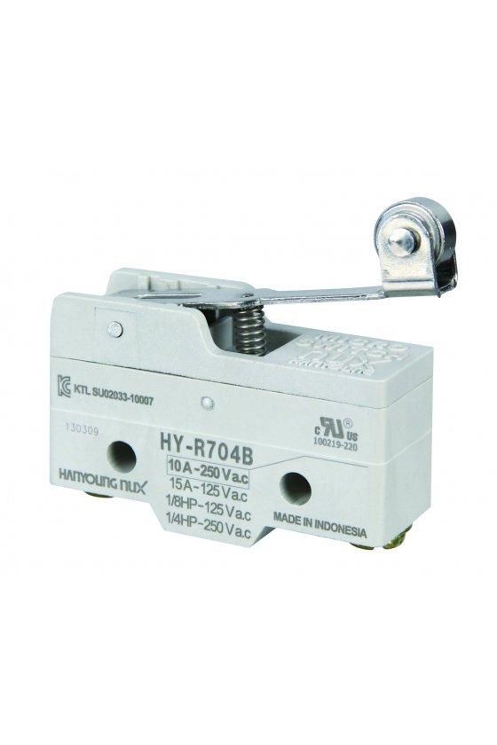 HYR704B Micro Switch básico con palanca media y rodillo 1NA+1NC 10amp 250vca
