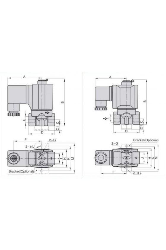 """2KW050-15FT Válvula solenoide 2 vías 2 posiciones puertos de 1/2"""" cuerpo de latòn abierta12V,N.A"""