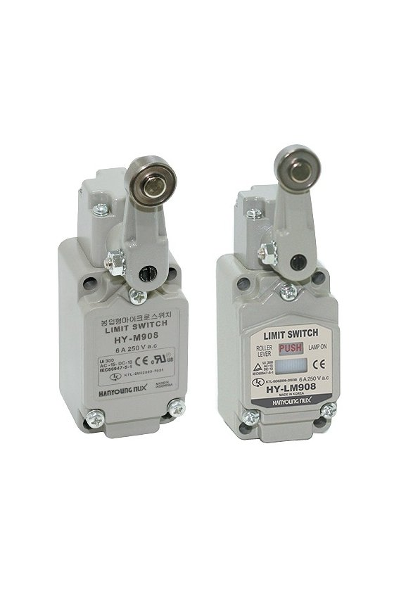 HYLM908A Limit Switch con brazo de rodillo fijo contacto 1NA+1NC 6amp con Led