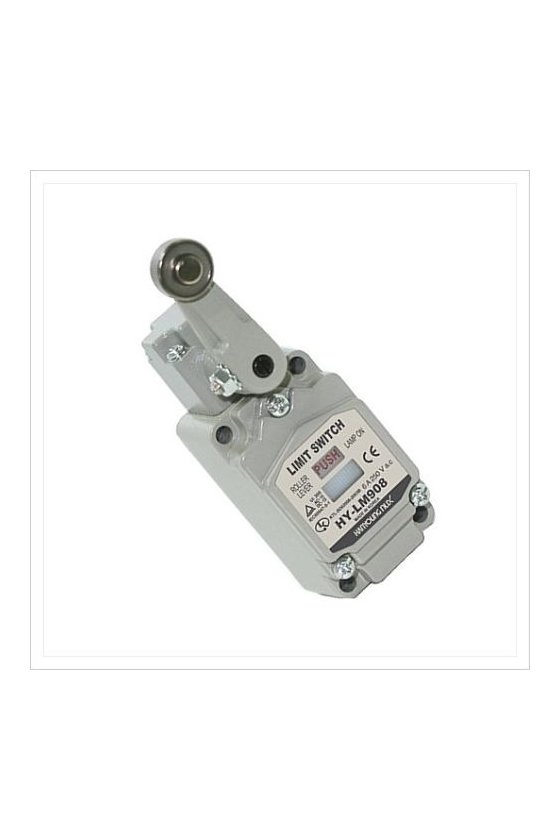 HYLM908A Limit Switch con brazo de rodillo fijo contacto 1NA+1NC 6amp con Led