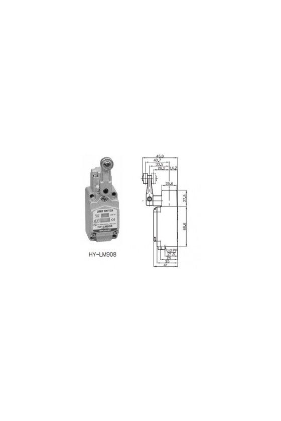 HYM908R Limit Switch con brazo de rueda fijo de 5cm contacto 1NA+1NC 6amp