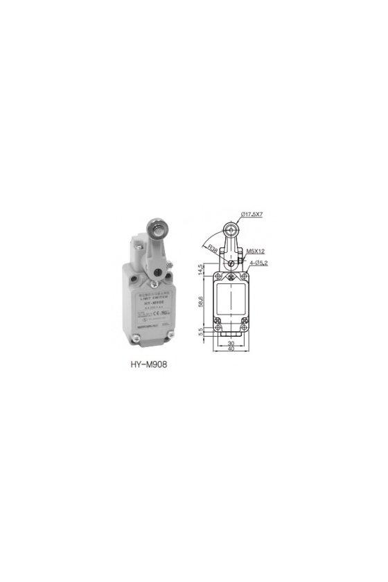 HYM908 Limit Switch con brazo de rodillo fijo contacto 1NA+1NC 6amp