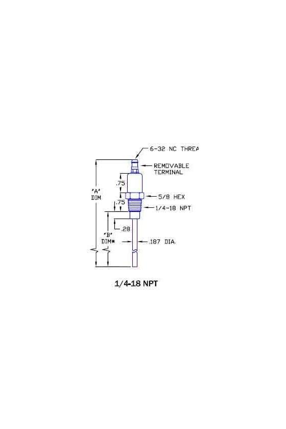 18395 Varilla detectora de flama longitud de 18 de 1/4