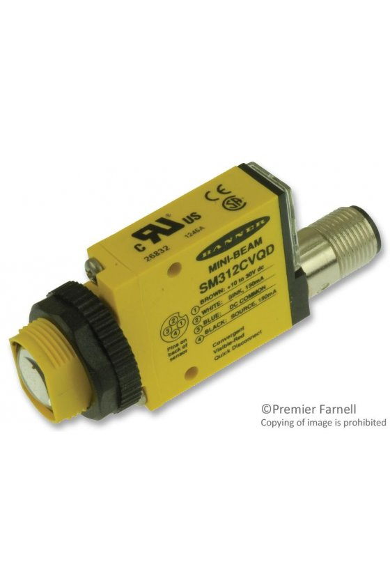 26832 Sensor Fotoeléctrico, Serie SM312, Mini-Beam, Convergente, 16mm, NPN/PNP, 10-30Vcd, Conector SM312CVQD