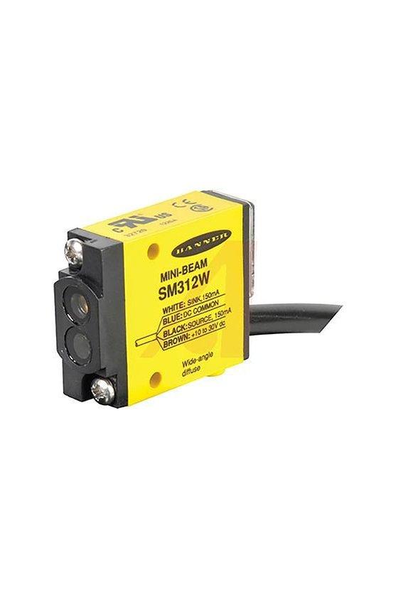26264 Sensor Fotoeléctrico, Serie SM312, Mini-Beam, Difuso, 130mm, NPN/PNP, 10-30Vcd, Precableado  SM312W