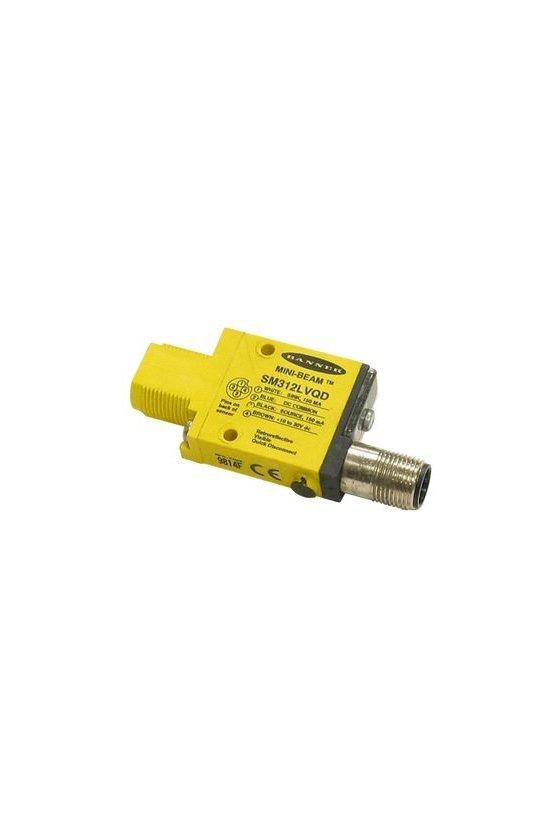 26838 Sensor Fotoeléctrico, Serie SM312, Mini-Beam, Retroreflectante, 5m, NPN/PNP, 10-30Vcd, Conector SM312LVQD