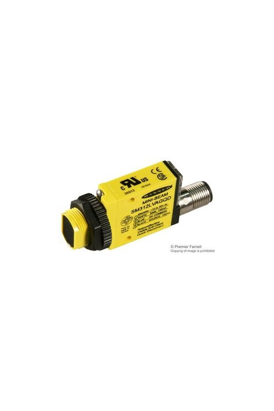 26913 Sensor Fotoeléctrico, Serie SM312, Mini-Beam, Retroreflectante, 2m, NPN/PNP, 10-30Vcd, Conector SM312LVAGQD