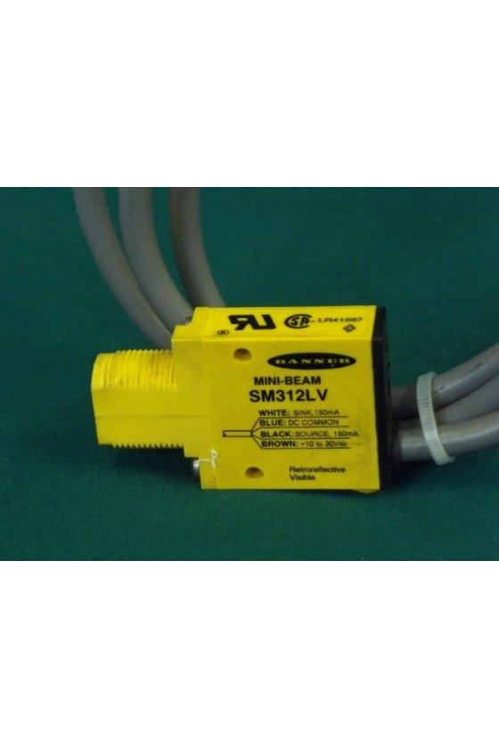 25618 Sensor Fotoeléctrico, Serie SM312, Mini-Beam, Retroreflectante, 5m, NPN/PNP, 10-30Vcd, Precableado SM312LV