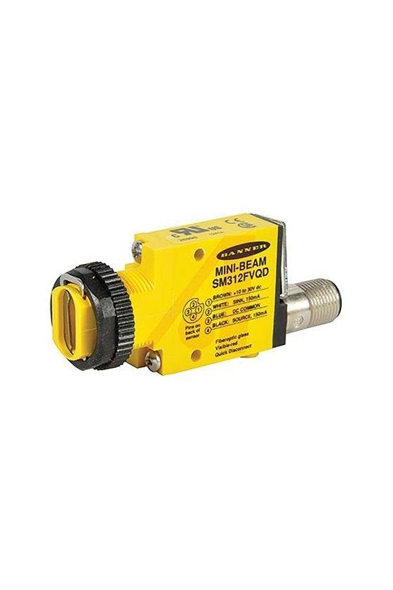 26990 Sensor Fotoeléctrico de fibra optica Visible Red 650nm 10-30VDC conector QD  SM312FVQD