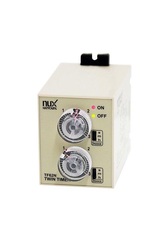 TF62NE03D Timer ON-OFF doble tiempo 58x84mm  3seg/3min/3hrs con 1 contacto  24-240vca-vcd