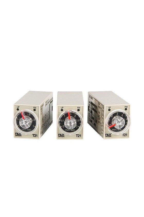 T2114A20 Timer Mini 21x28mm  rango 1sec,10sec,1min,10min , salida 4P-4T 14pins 4 funciones 200-230vca