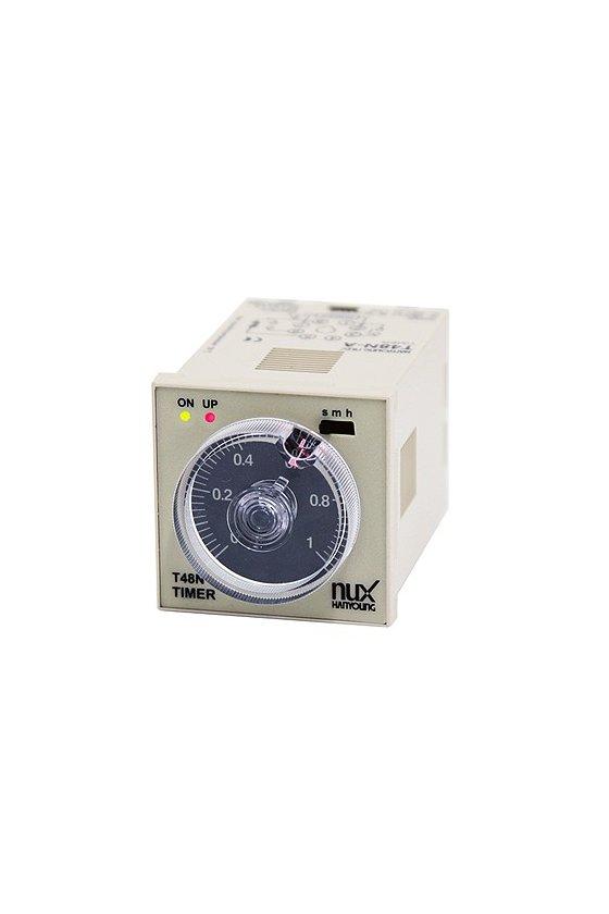 T48NE10C Timer 48x48mm 8 pin con dial rango  10sec-10min-10hr on delay con 2 salidas de retardo de 24-240vca-vcd