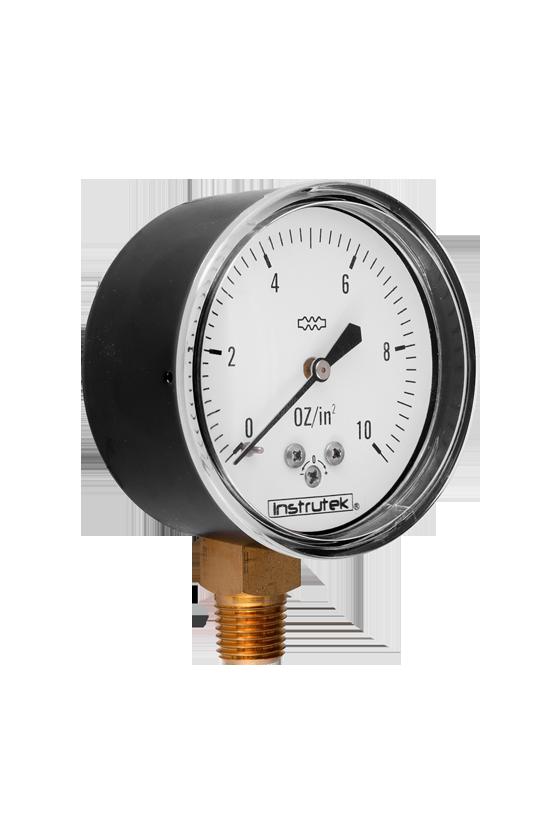 """6320010OZIN2 Manómetro seco baja presión. ext. en acero al carbón vent de PC. 2.5"""". int. bronce. CNX 1/4"""" NPT- INF. 10 oz/in2"""