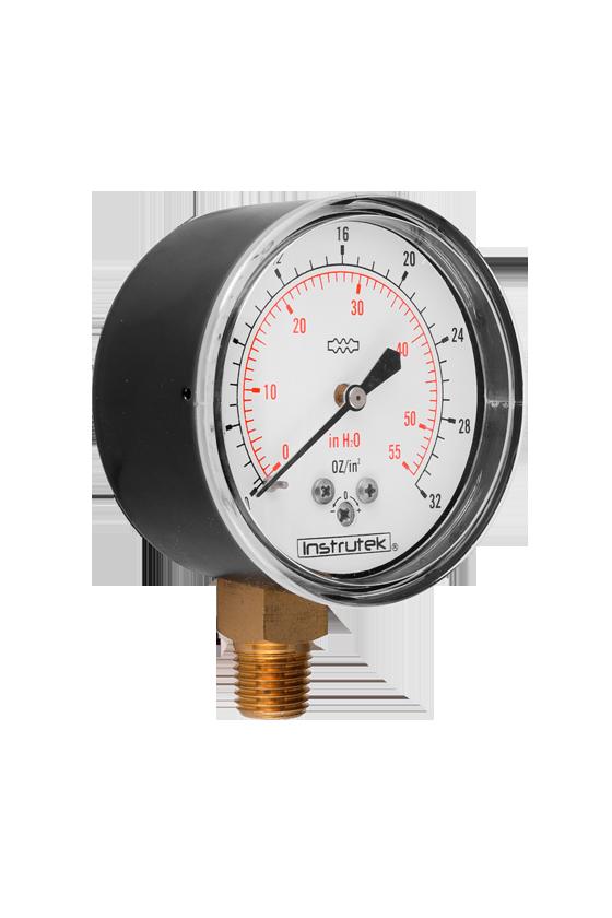 "6320032OZ55INH2O Manómetro seco baja presión. ext. en acero al carbón vent de PC. 2.5"". CNX 1/4"" NPT- INF. 32 oz/in2-55 inH2O"