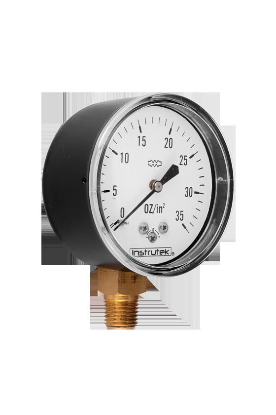 """6320035OZIN2 Manómetro seco baja presión. ext. en acero al carbón vent de PC. 2.5"""". CNX 1/4"""" NPT- INF. 35 oz/in2"""