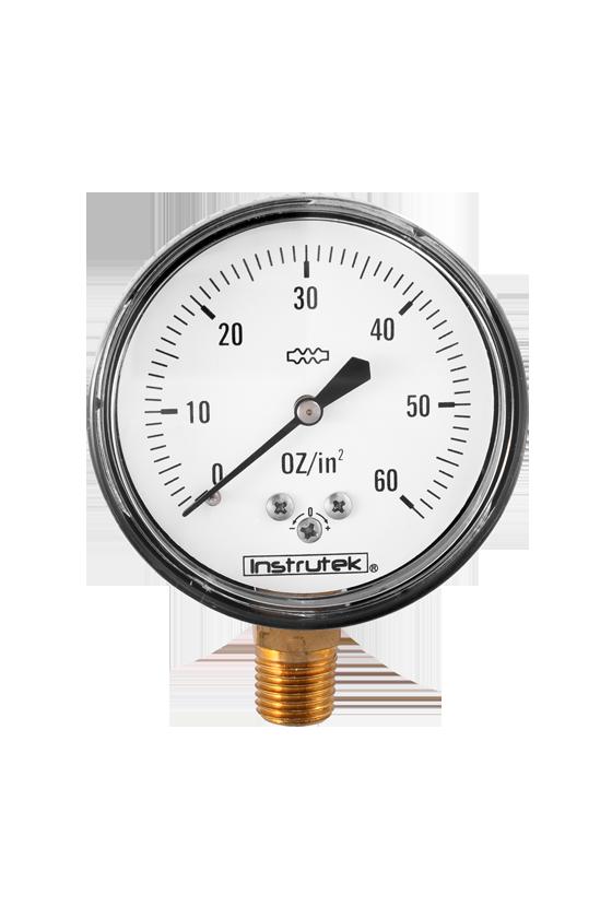 """6320060OZIN2 Manómetro seco baja presión. ext. en acero al carbón vent de PC. 2.5"""". CNX 1/4"""" NPT- INF. 60 oz/in2"""