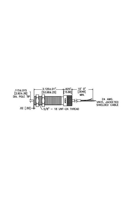 """MP62TA00 RECOLECTOR MAGNÉTICO ROSCADO DE 5/8 """", CONECTOR M12"""