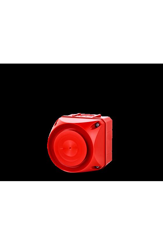 ASS-T Ind. multitono 94mm de 32 tonos 108dB base roja 110/240 V AC IP66 Tamaño 1