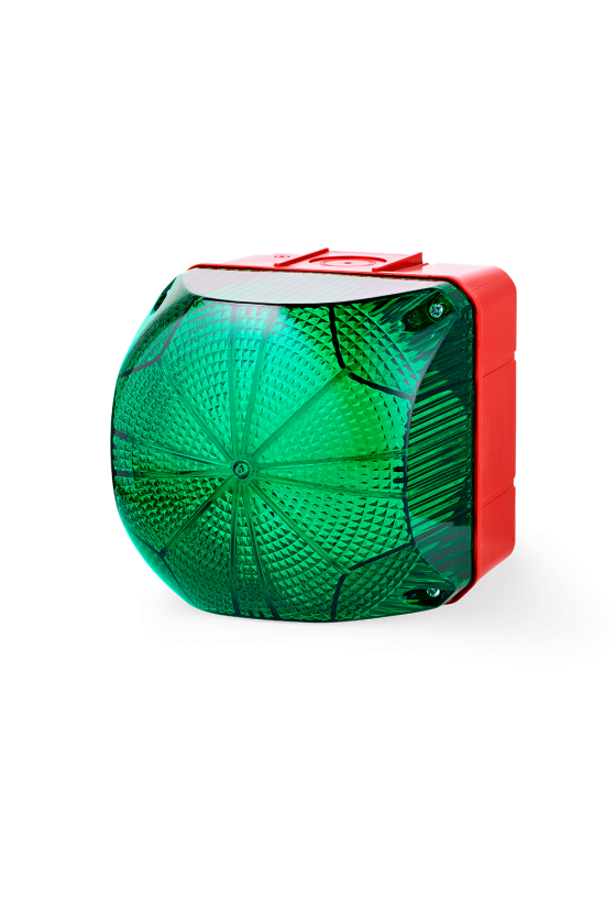 QDM Ind. luminosos 132mm luz Fija/Intermitente color verde 110-240 V AC/DC, Tamaño 2
