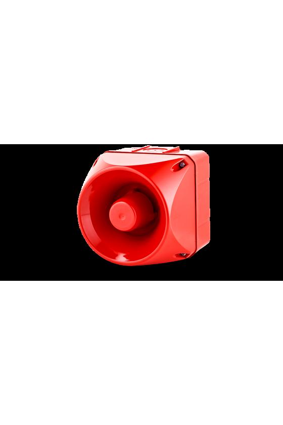 ASX Ind. acústico de 63 tonos 127dB base roja. 228mm. 110/120VAC IP66 Tamaño 4