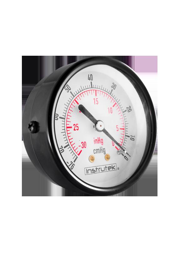 """63110ABS30VAC Vacuómetro plástico ABS caratula de 2.5"""". int. en latón, tubo bourdon en bronce CNX 1/4"""" NPT POST  De -30 inHg"""