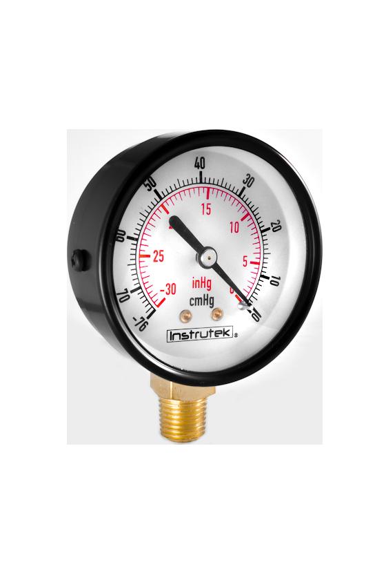 """63100ABS30VAC Vacuómetro seco en ABS caratula de 2.5"""". int. en latón y tubo bourdon en bronce CNX 1/4"""" NPT INF  De -30 inHg"""