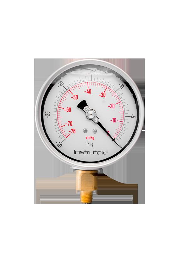 """10040030VAC Vacuómetro glicerina caratula de 4"""". CNX de 1/4"""" NPT INF. VENTANA DE PC -30 inHg VAC"""
