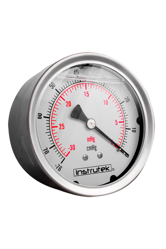 """10031030VAC Vacuómetro glicerina caratula de 4"""". CNX de 1/4"""" NPT POST. -30 inHg VAC"""
