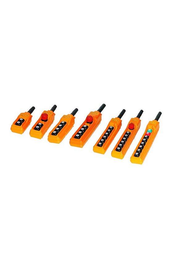 Botonera colgante 6 botones 1 boton de emergencia de 10A  leyendas (derecha,izq,arriba,abajo,enfrente,atrás) 6 amp 250 vca