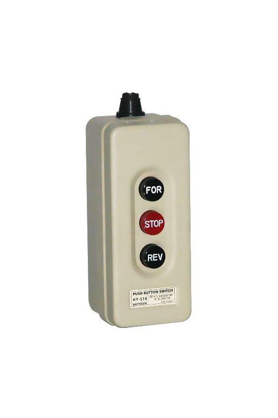 HY-516 Interruptor trifásico con botones  FOR,STOP,REV 3P 15A  250vca (con gabinete)