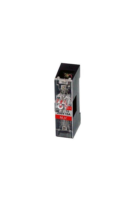 Porta fusibles de barra para riel DIN  1 polo de  15A  110-220vca