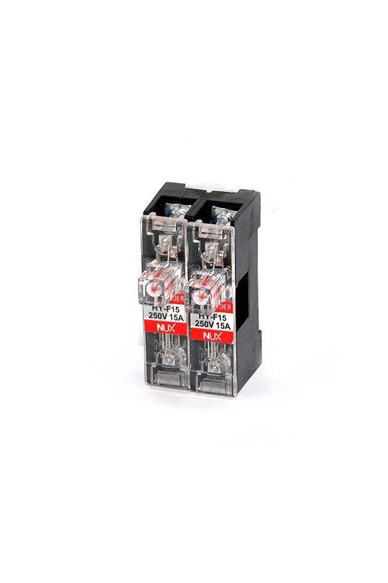 Porta fusibles de barra para riel DIN  2 polo de  15A  12-24vcd