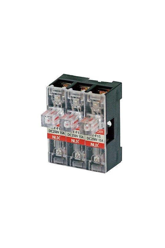 Porta fusibles de barra para riel DIN  3 polo de  15A  12-24vcd