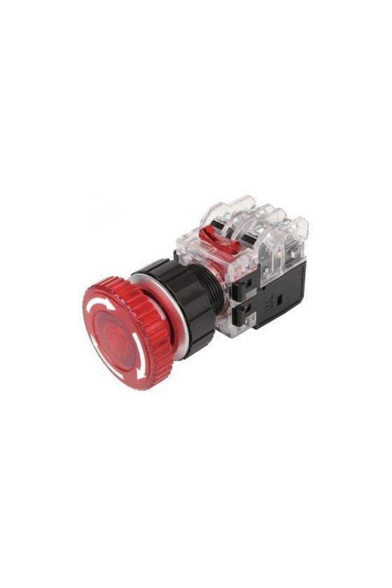 Boton de hongo iluminado de emergencia con traba rojo de 30mm 1NA + 1NC LED de 12-24 vcd